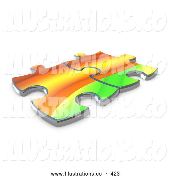 Royalty Free Stock Illustration of a Pair of Two Colorful Puzzle Pieces Connected over a White Background, Symbolizing Interlinking for Seo Website Marketing, and Teamwork
