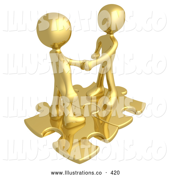 Royalty Free Stock Illustration of a Pair of Two Gold People Shaking Hands While Standing on Connected Gold Puzzle Pieces, Symbolizing Teamwork, Deals, and Link Exchanges