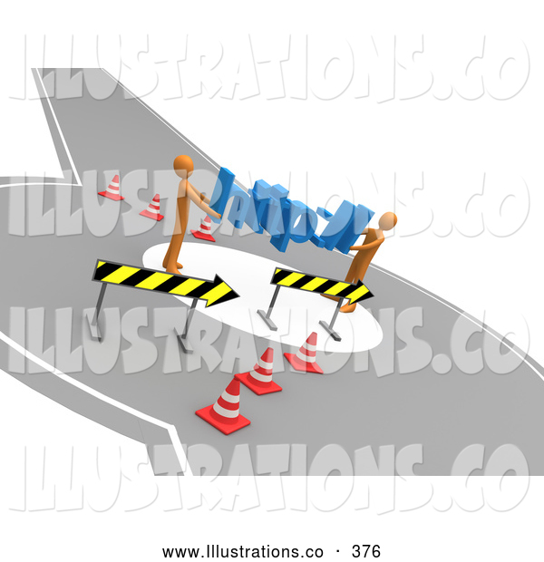 Royalty Free Stock Illustration of a Pair of Two Orange People Carrying Http Through a Construction Zone, Symbolizing a Redirect or Detour