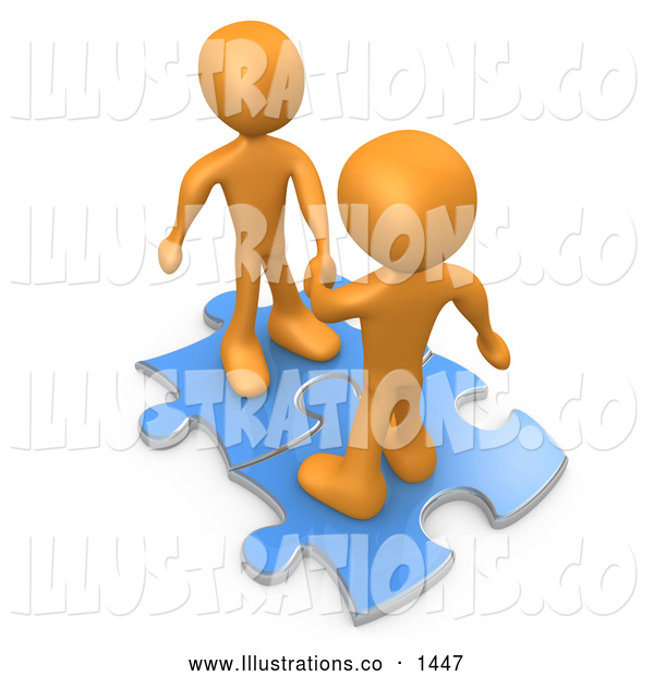 Royalty Free Stock Illustration of a Pair of Two Orange People on Blue Puzzle Pieces, Engaging in a Handshake upon a Deal, Symbolizing Link Exchange and Teamwork