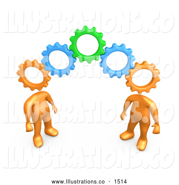 Royalty Free Stock Illustration of a Pair of Two Orange People with Cog Heads, Standing on the Ends of Working Gears, Symbolizing Teamwork and Brainstorming