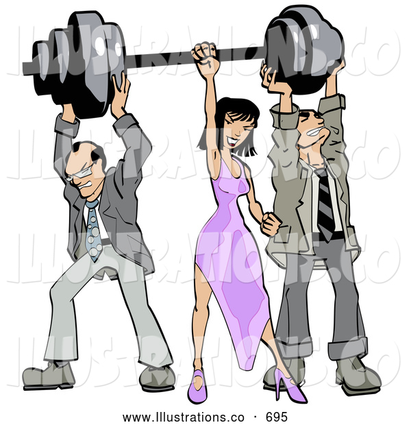 Royalty Free Stock Illustration of a Pair of Two Struggling Businessmen Holding up Weights on a Barbell While a Woman Grasps the Bar