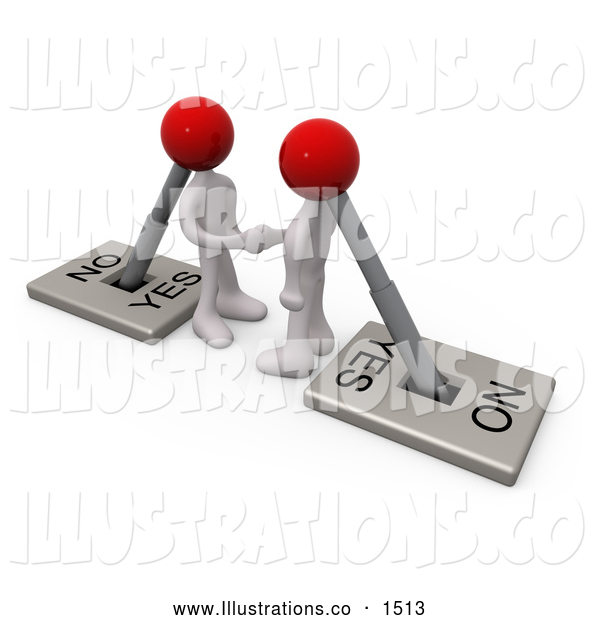Royalty Free Stock Illustration of a Pair of Two White Lever Switch Head Men Turned on to YES, Shaking Hands on a Deal