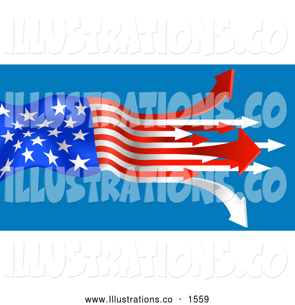 Royalty Free Stock Illustration of a Patriotic American Flag with the Red and White Stripes Turning to Arrows, Pointing out on a Blue Background