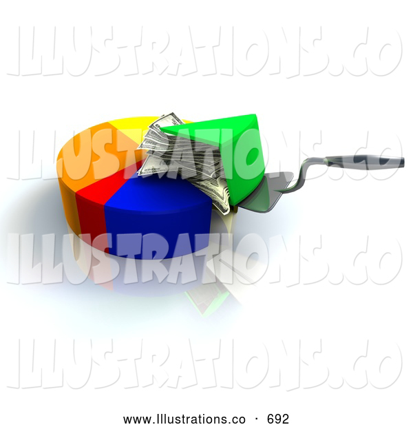 Royalty Free Stock Illustration of a Pie Chart with a Slice Being Lifted Up, Showing Money Filling