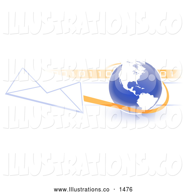 Royalty Free Stock Illustration of a Professional Blue Globe with White American Continents Against a Numeric Binary Code Bar and a Speeding Envelope Passing By, Symbolizing Email and Internet Communications