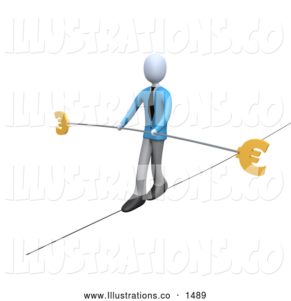 Royalty Free Stock Illustration of a Professional Business Man in Blue, Walking on a Tightrope with a Bar and Two Euro Signs