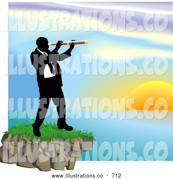 Royalty Free Stock Illustration of a Professional Businessman Looking Through a Telescope Across a Waterscape