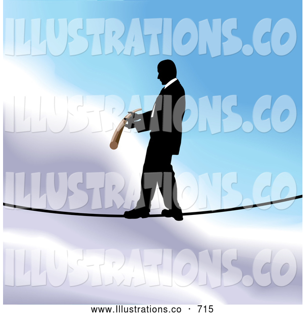 Royalty Free Stock Illustration of a Professional Businessman Walking on a Tightrope