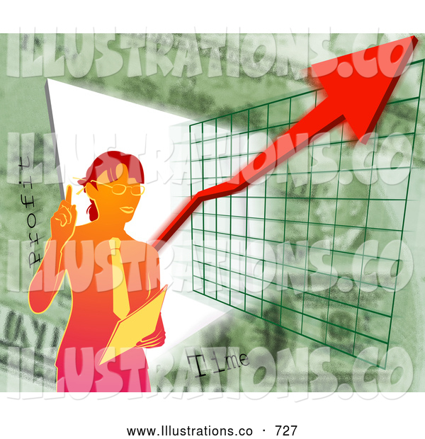 Royalty Free Stock Illustration of a Professional Businesswoman Standing by a Graph During a Presentation