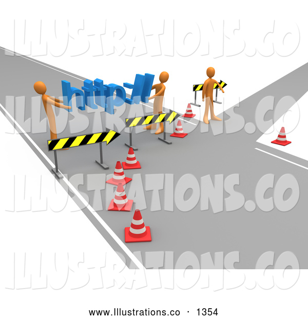 Royalty Free Stock Illustration of a Professional Construction Zone of Orange Men Carrying Http Across a Road Block
