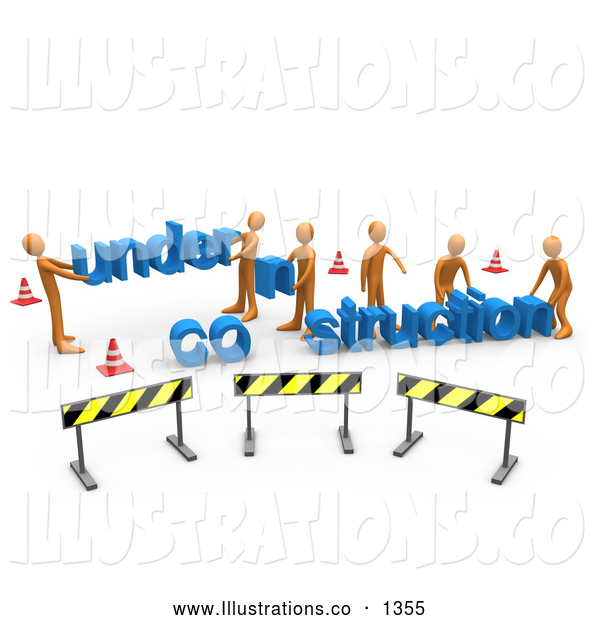 Royalty Free Stock Illustration of a Professional Construction Zone of Orange Men Carrying Letters Reading Under Construction