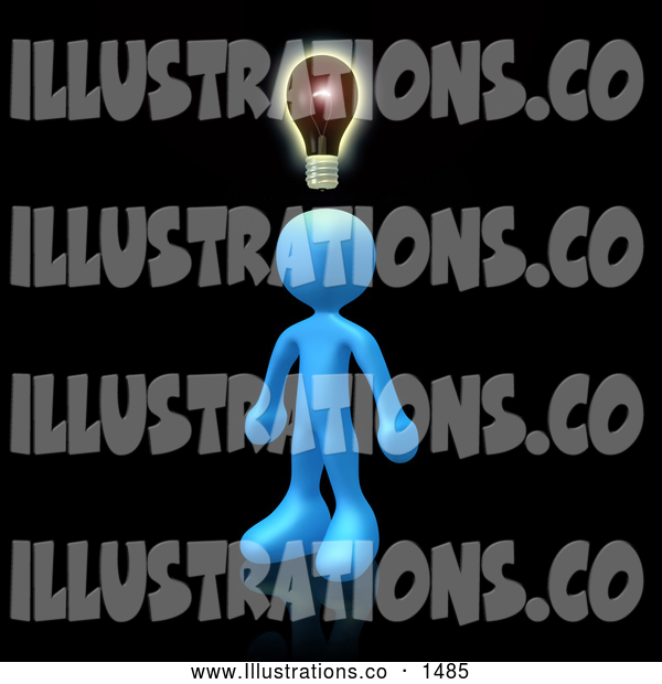 Royalty Free Stock Illustration of a Professional Creative Blue Person on Black, Conjuring up Another Idea