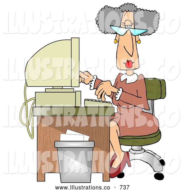 Royalty Free Stock Illustration of a Professional Gray Haired Secretary Woman Working at a Computer Desk in an Office