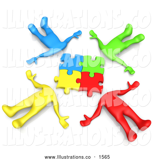 Royalty Free Stock Illustration of a Professional Group of Four Colorful Diverse People Lying in a Circle with Their Heads Connected