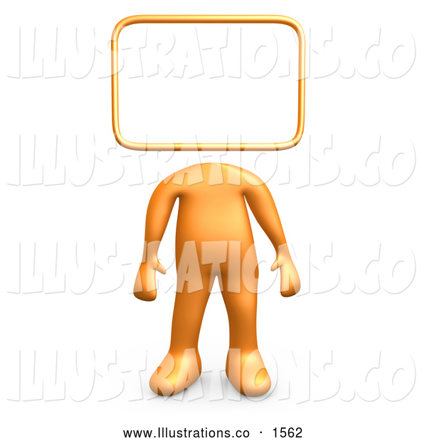 Royalty Free Stock Illustration of a Professional Orange Person Standing with a Blank Sign or Message Board Head