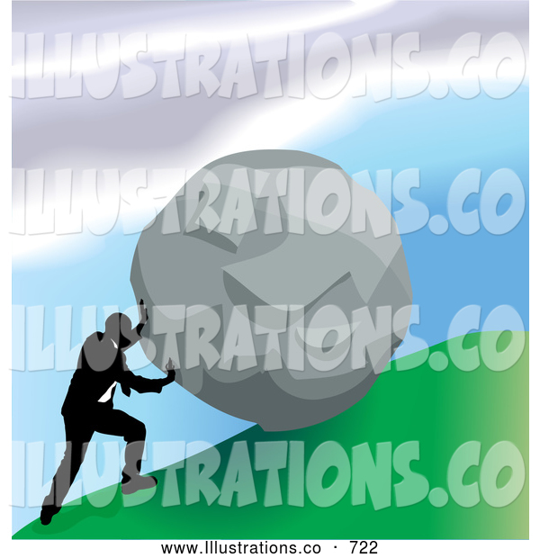 Royalty Free Stock Illustration of a Professional Strong Business Man Pushing a Boulder up a Hill