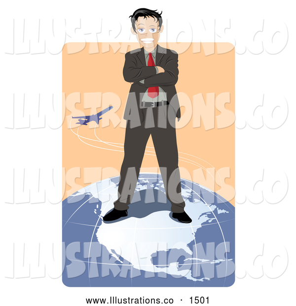 Royalty Free Stock Illustration of a Professional Successful Businessman Standing on Top of the North American Continent on a Globe While a Plane Flies in the Background