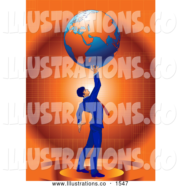 Royalty Free Stock Illustration of a Proud Businessman in a Blue Suit and Red Tie, Standing Against an Orange Background and Holding the Planet Earth High Above His Head, Symbolizing Success