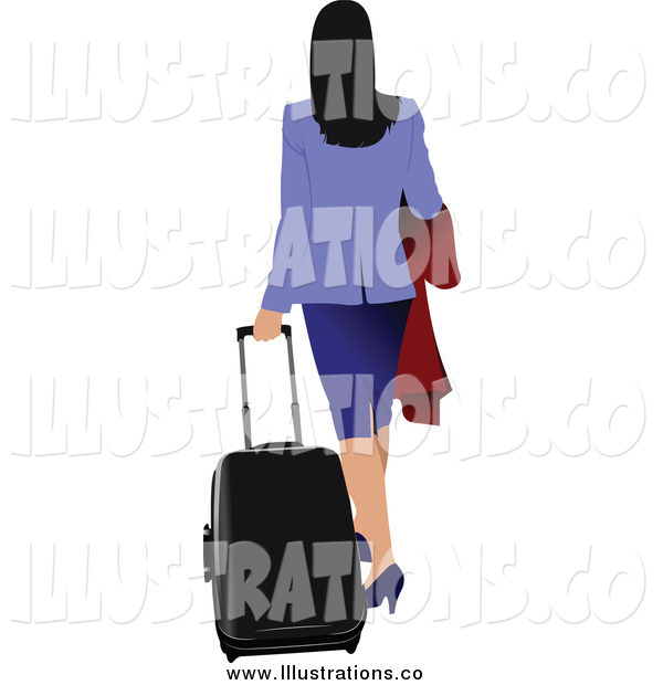 Royalty Free Stock Illustration of a Rear View of a Traveling Businesswoman