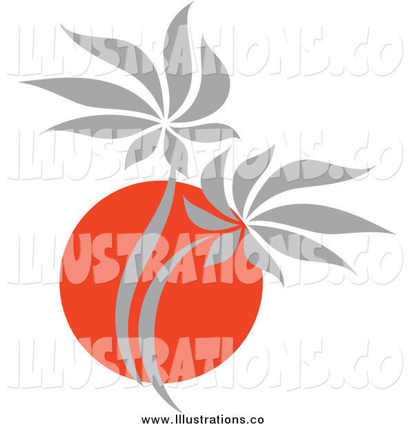 Royalty Free Stock Illustration of a Red and Gray Asian Palm Tree