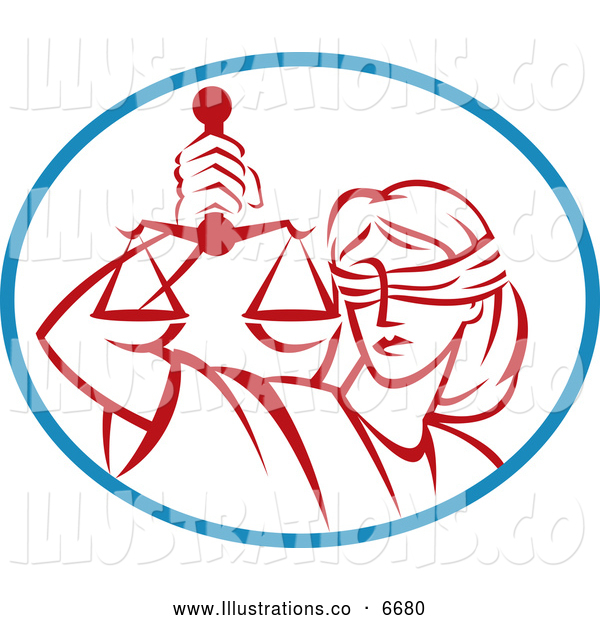Royalty Free Stock Illustration of a Red Legal Blind Justice and Scales in a Blue Oval