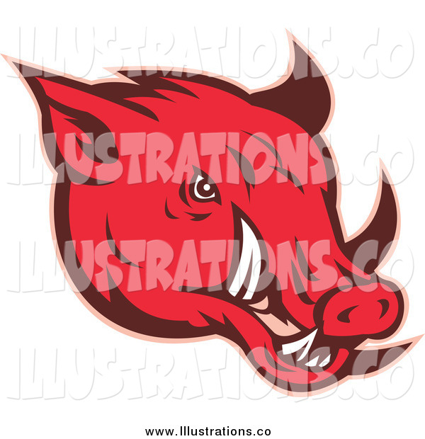 Royalty Free Stock Illustration of a Red Razorback Pig