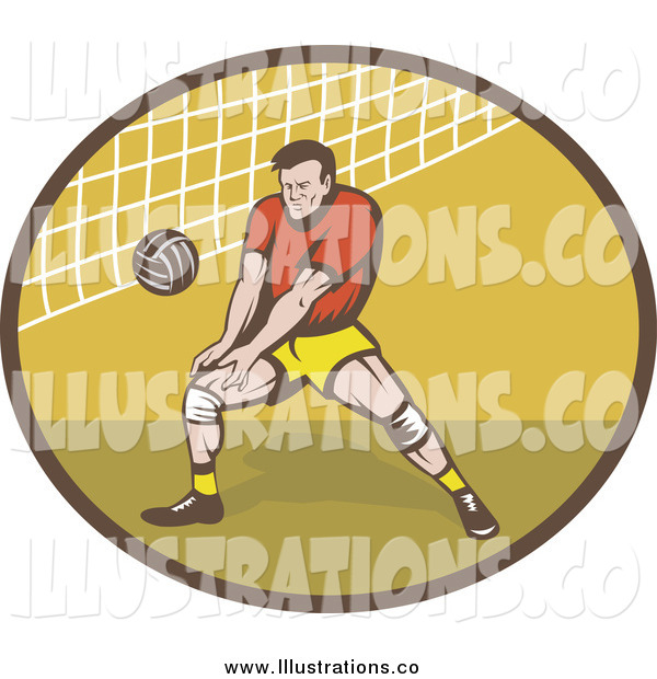 Royalty Free Stock Illustration of a Retro Male Volleyball Player and Net