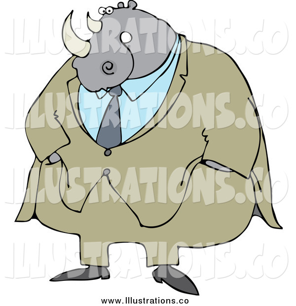 Royalty Free Stock Illustration of a Rhino Businessman in a Suit