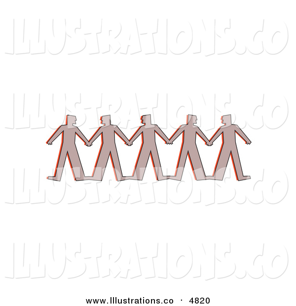 Royalty Free Stock Illustration of a Row of Paper People Clasping Hands