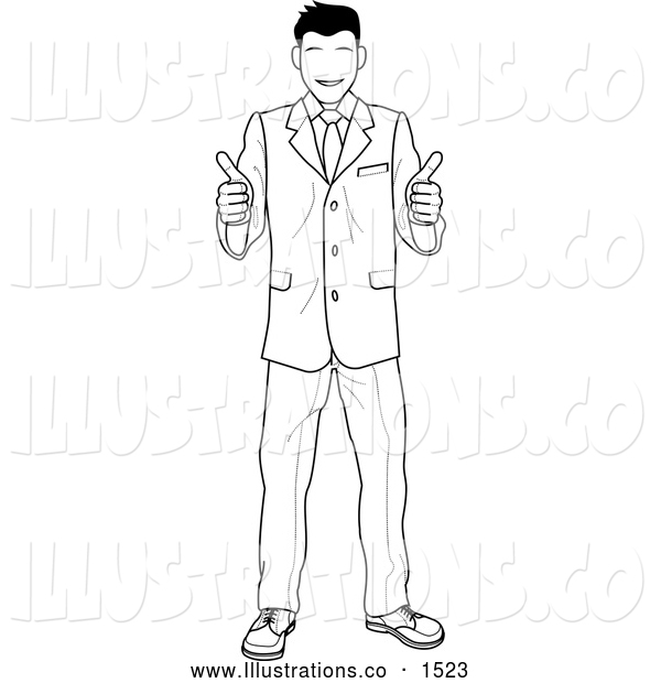 Royalty Free Stock Illustration of a Satisified Smiling Customer or Boss Smiling and Giving Two Thumbs up