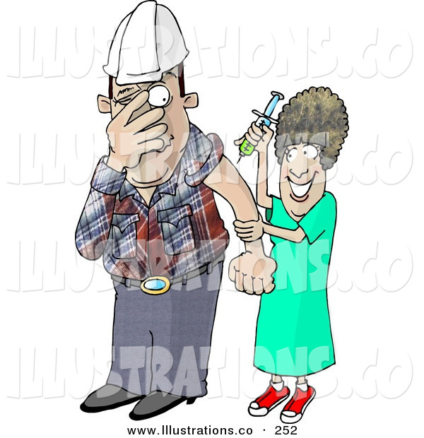 Royalty Free Stock Illustration of a Scared Worker Man with Trypanophobia Getting a Flu Shot from a Nurse