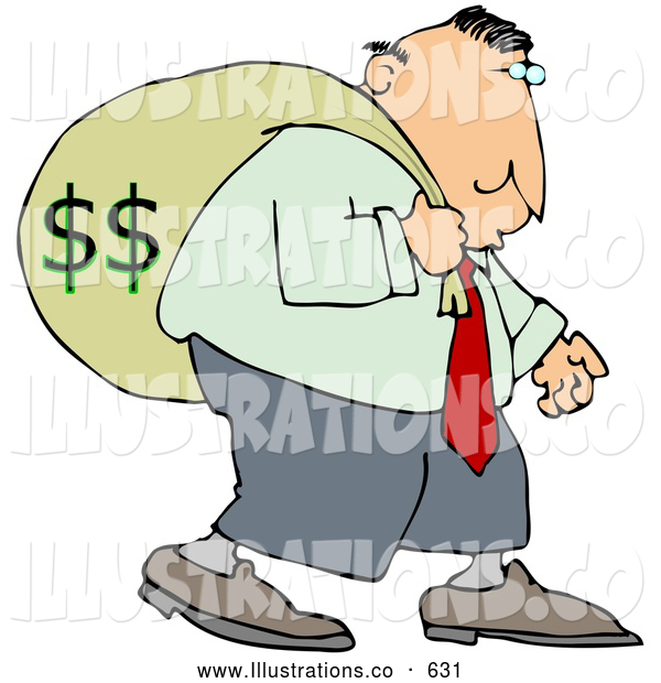 Royalty Free Stock Illustration of a Selfish Greedy Businessman Carrying a Heavy Sack of Money on His Back