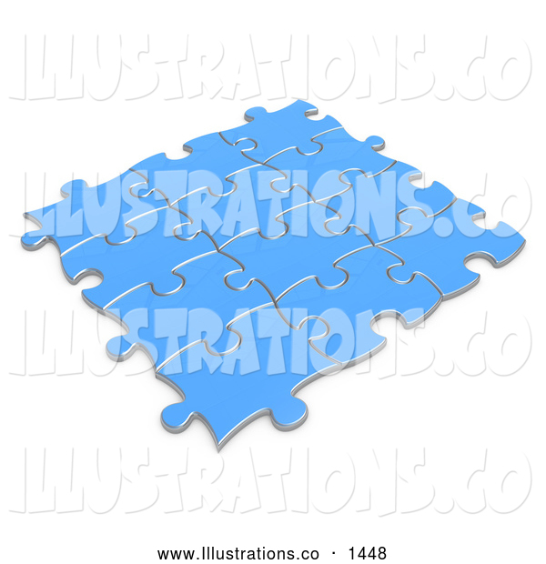 Royalty Free Stock Illustration of a Set of Blue Puzzle Pieces Connected Together, Symbolizing Teamwork and Linking