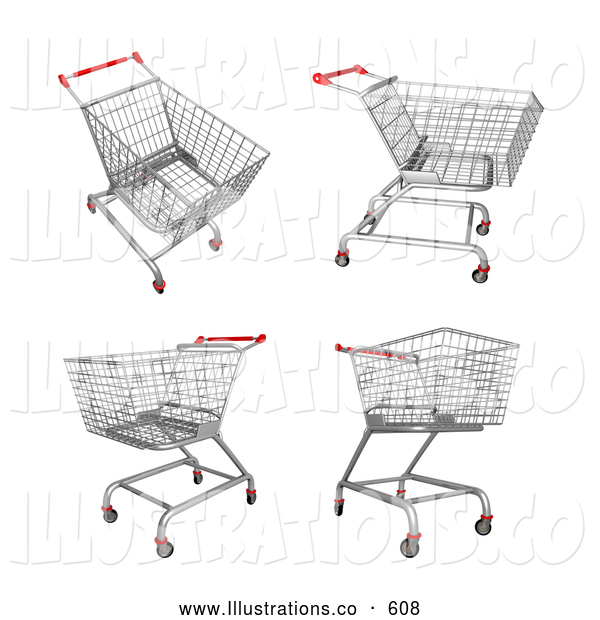 Royalty Free Stock Illustration of a Set of Four Metal Store Shopping Carts in 3D