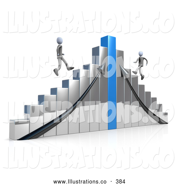 Royalty Free Stock Illustration of a Shiny Chrome and Blue Bar Graph Chart