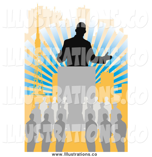 Royalty Free Stock Illustration of a Silhouetted Business Man Speaking to a Crowd over Rays