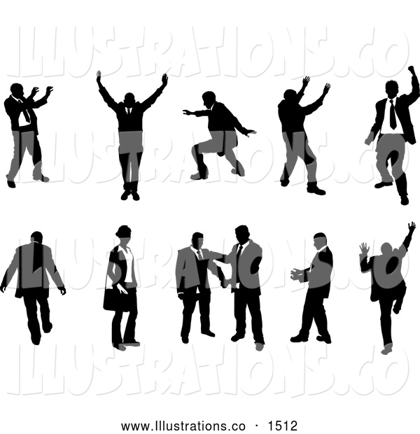 Royalty Free Stock Illustration of a Silhouetted Emotional Collection of Businesspeople Doing Different Poses