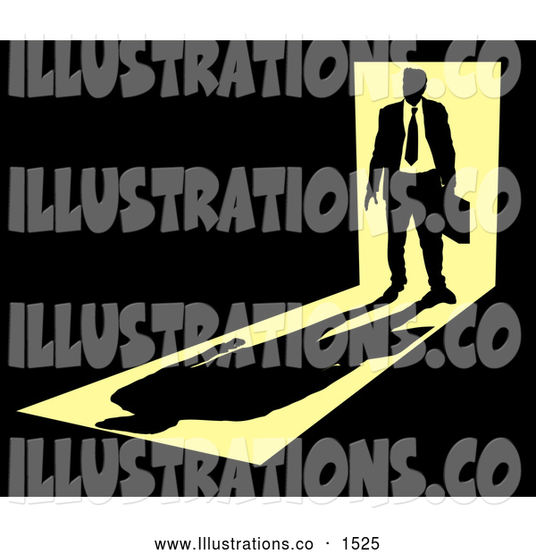 Royalty Free Stock Illustration of a Silhouetted Stylized Businessman Carrying a Briefcase, Standing in a Doorway with Bright Light from Behind, Casting a Shadow in Front of Him in a Dark Room, Symbolizing the Unknown Future