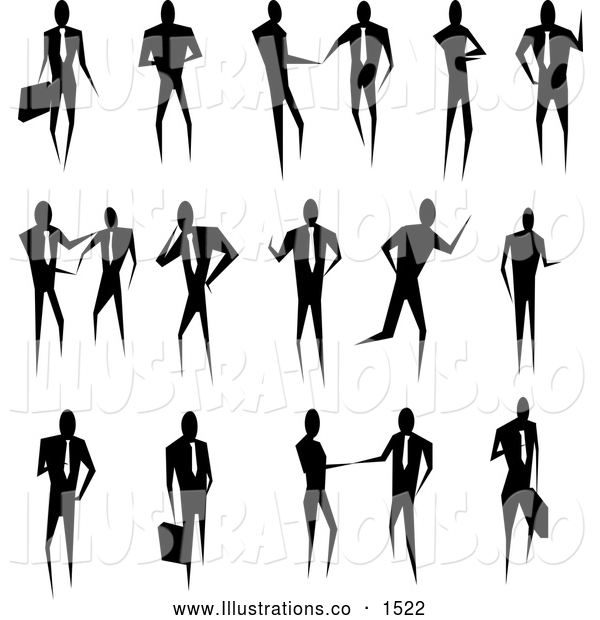 Royalty Free Stock Illustration of a Silhouetted Stylized Collection of Business People Conducting Business and Standing in Poses