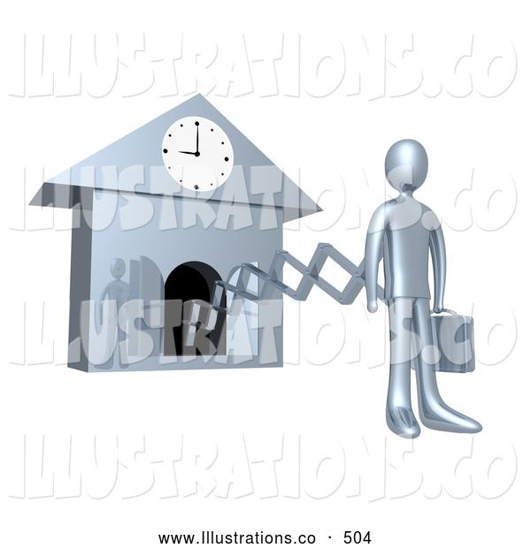 Royalty Free Stock Illustration of a Silver Man Coming from a Clock Symbolizing New Work Day, or Punctuality