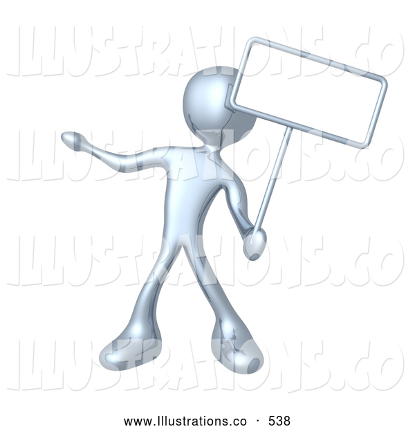 Royalty Free Stock Illustration of a Silver Man Standing and Holding up a Blank Sign for an Advertisement