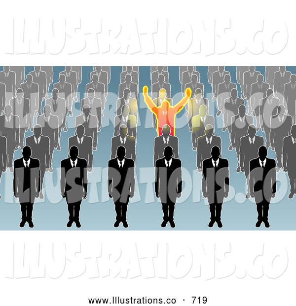 Royalty Free Stock Illustration of a Single Unique Businessman Holding His Arms Up, Surrounded by Men in Rows