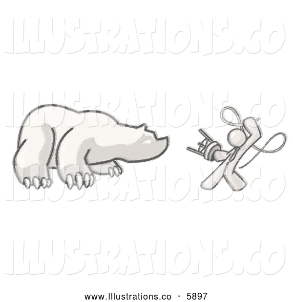 Royalty Free Stock Illustration of a Sketched Design Circus Ringleader Mascot Man Holding a Stool and Whip While Taming a Bear