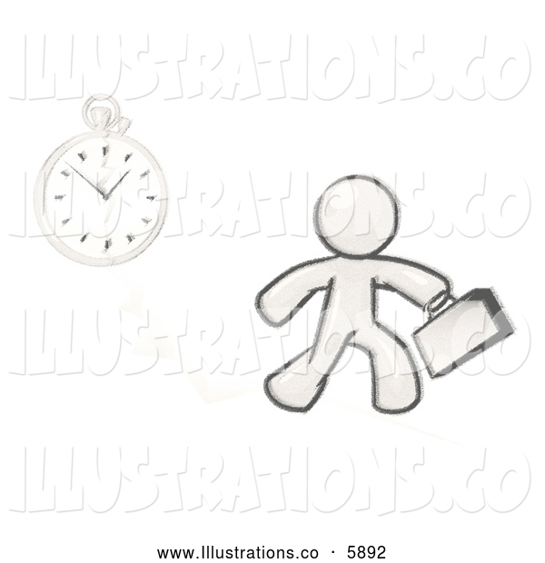 Royalty Free Stock Illustration of a Sketched Design Mascot Man Running Late for Work over a Crack with a Clock, on White
