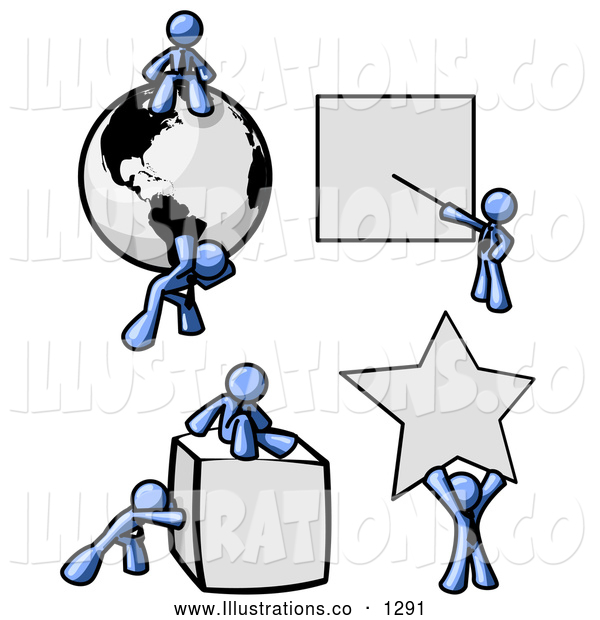 Royalty Free Stock Illustration of a Strong Blue Men with a Globe, Presentation Board, Cube and Star