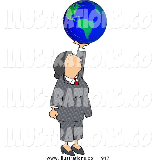 Royalty Free Stock Illustration of a Successful Caucasian Businesswoman Holding the Globe in Her Hand - Business Concept