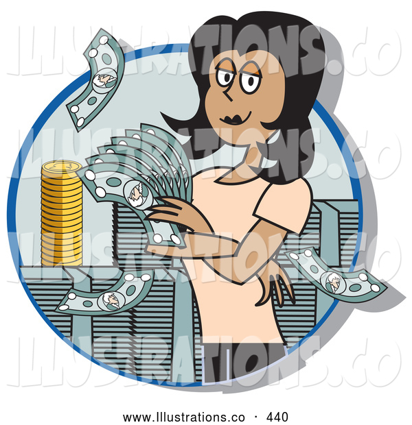 Royalty Free Stock Illustration of a Successful Friendly Female Realtor Standing in a Giant Stack of Cash and Coins