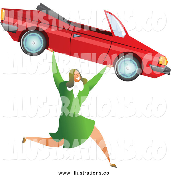 Royalty Free Stock Illustration of a Successful White Businesswoman Carrying a Convertible Car