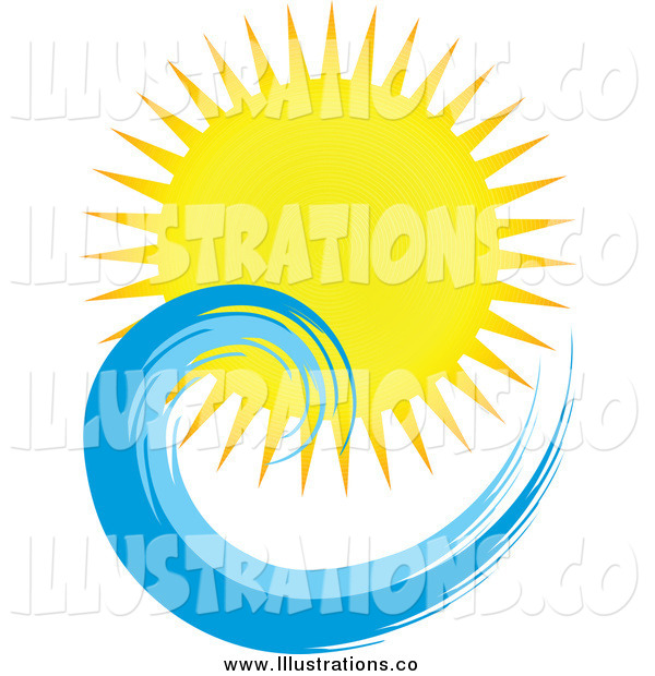 Royalty Free Stock Illustration of a Sun and Ocean Wave